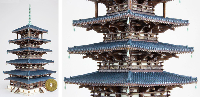 Five Storied Pagoda (Gojyunoto) Modeling (Height) 170 mm: Comparison - Japanese coin (jpy5.-) dia. 22 mm *The coin is not a 3D model.