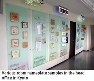 Various room nameplate samples in the head office in Kyoto