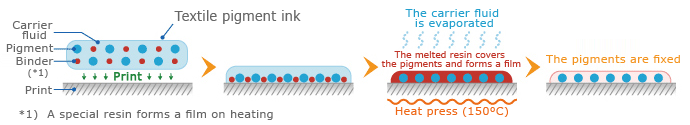 Mechanism of textile pigment ink fixation