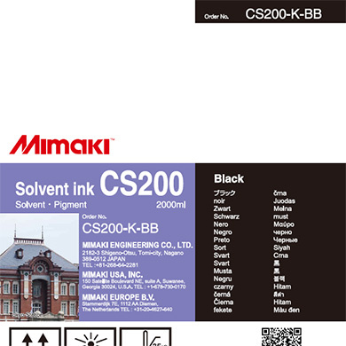 CS100-K-BB CS200 Solvent ink bottle Black