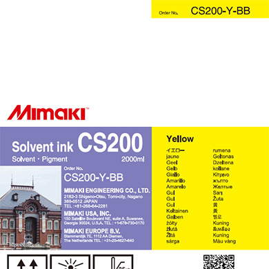 CS200-Y-BB CS200 Solvent ink bottle Yellow