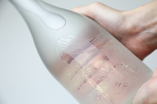 Frosted-glass bottle
